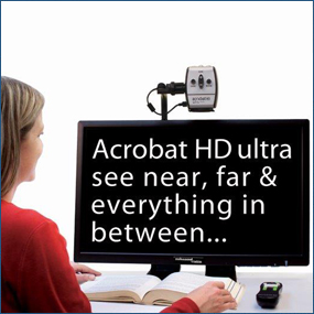Acrobat is a transportable low vision magnification unit. It is used