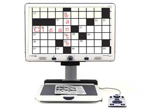 Magnified crossword puzzle on the Merlin elite hd desktop magnifier