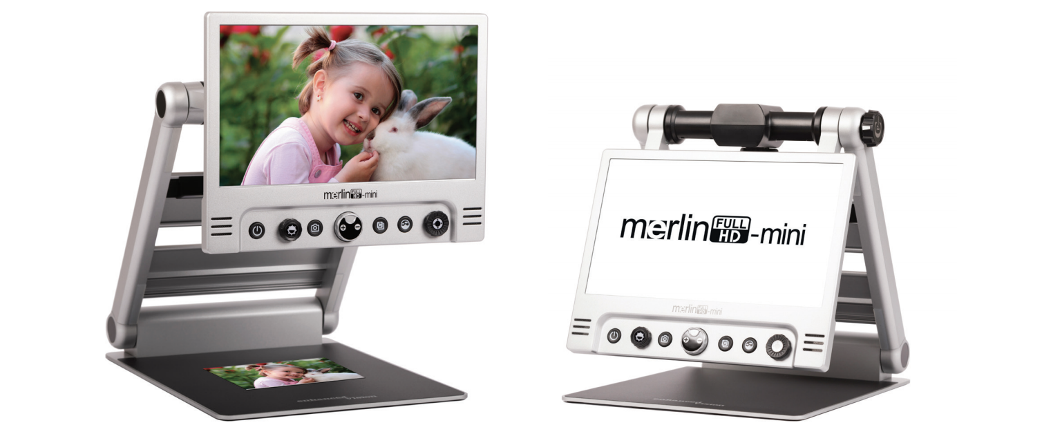 two merlin mini's side by side one magnifying photo of a little girl and a bunny. Second merlin mini shows white screen with merlin mini logo in folded position.