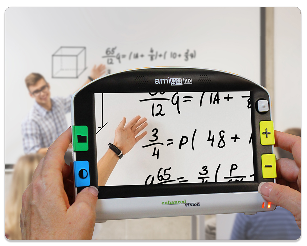 Student holding up Amigo HD to zoom in on whiteboard